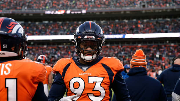Denver Broncos defensive end Dre'Mont Jones (93) in the third quarter against the Oakland Raiders at Empower Field at Mile High.