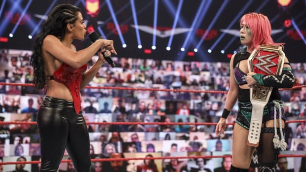 WWE's Zelina Vega confronts Asuka in the ring on Raw