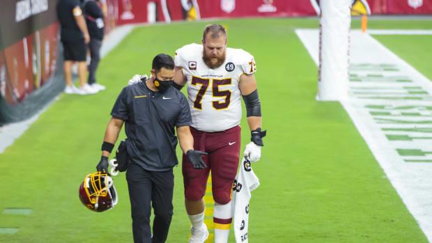 Brandon Scherff Inj Walk © Mark J. Rebilas-USA TODAY Sports