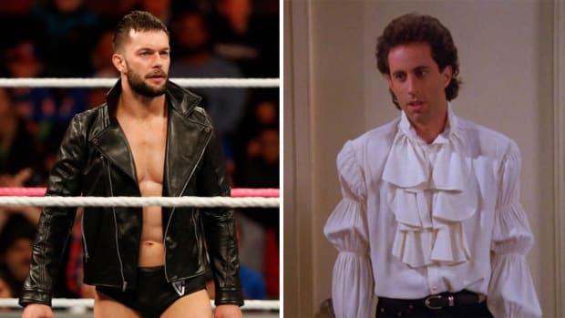 Split image of WWE's Finn Balor and Jerry Seinfeld