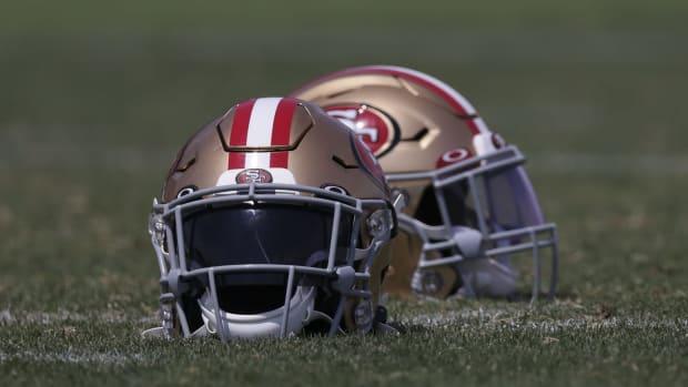 Aug 17, 2020; Santa Clara, CA, USA; Detail view of San Francisco 49ers helmets during training camp at SAP Performance Facility.