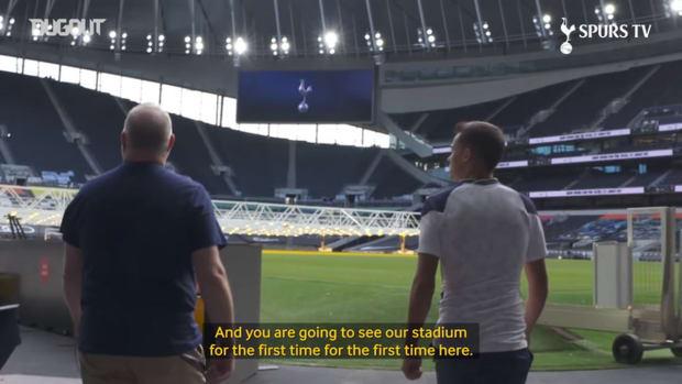 Sergio Reguilon visits Tottenham Hotspur Stadium for first time