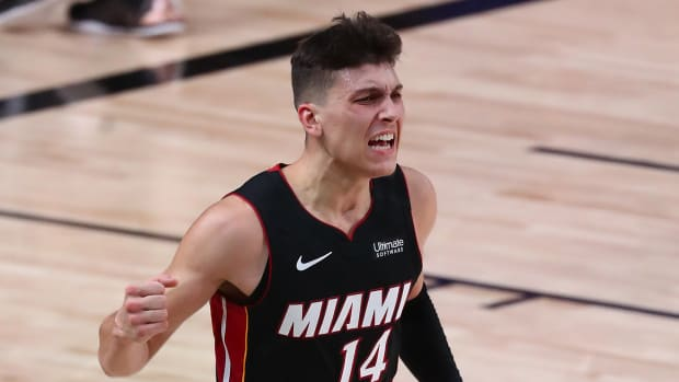 Miami Heat guard Tyler Herro (14) celebrates after among a layup against the Boston Celtics during the second half of game four of the Eastern Conference Finals of the 2020 NBA Playoffs