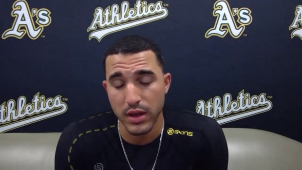 Ramon Laureano chokes up `and good things happen'