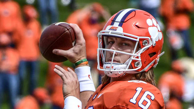 Trevor Lawrence(16) warms up before the game with The Citadel Saturday, Sept. 19, 2020 at Memorial Stadium in Clemson, S.C. Clemson The Citadel Ncaa Football