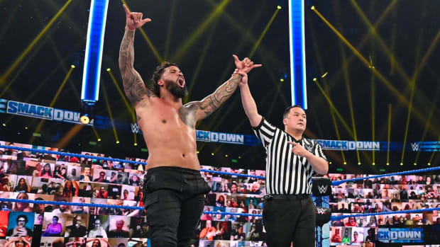 WWE's Jey Uso in the ring after winning a match on SmackDown