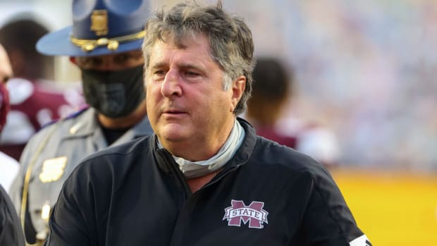 Mississippi State Bulldogs head coach Mike Leach following a 44-34 win against the LSU Tigers at Tiger Stadium.