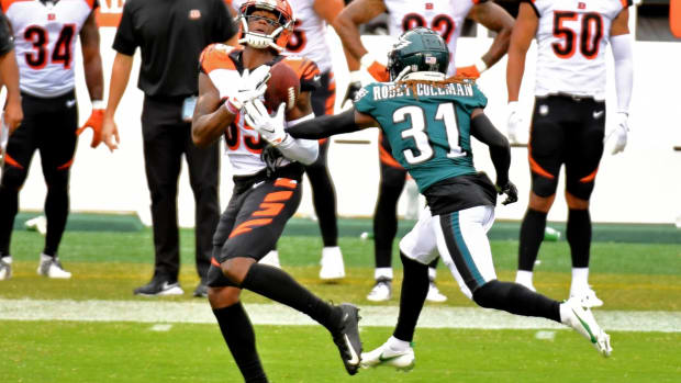 Sep 27, 2020; Philadelphia, Pennsylvania, USA; Philadelphia Eagles cornerback Nickell Robey-Coleman (31) breaks up pass intended for Cincinnati Bengals wide receiver Tee Higgins (85) during overtime at Lincoln Financial Field. Mandatory Credit: Eric Hartline-USA TODAY Sports