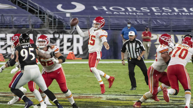 Sep 28, 2020; Baltimore, Maryland, USA; Kansas City Chiefs quarterback Patrick Mahomes (15) jumps to throw during the first half against the Baltimore Ravens at M&T Bank Stadium. Mandatory Credit: Tommy Gilligan-USA TODAY Sports