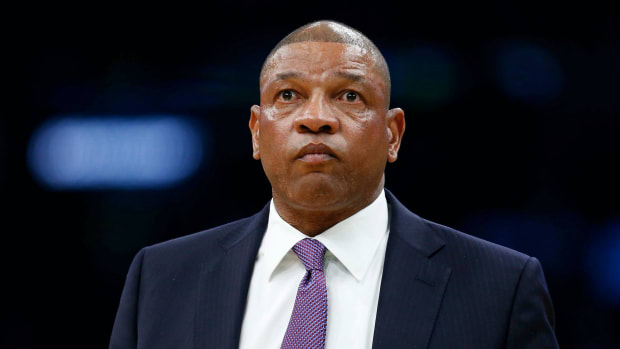 Los Angeles Clippers head coach Doc Rivers reacts during the second half against the Boston Celtics at TD Garden.