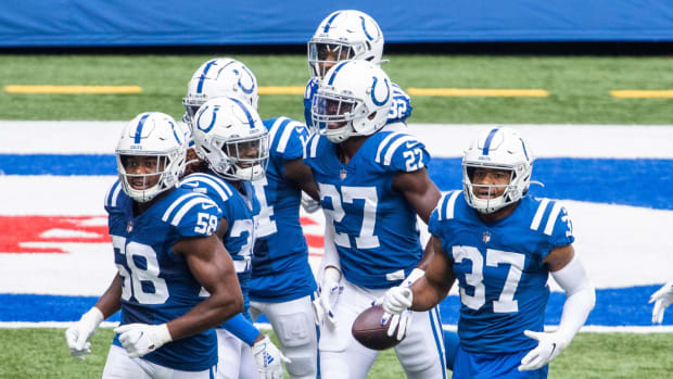 Indianapolis Colts cornerback Xavier Rhodes (27) celebrates a pick-six in Sunday's 36-7 home rout of the New York Jets.