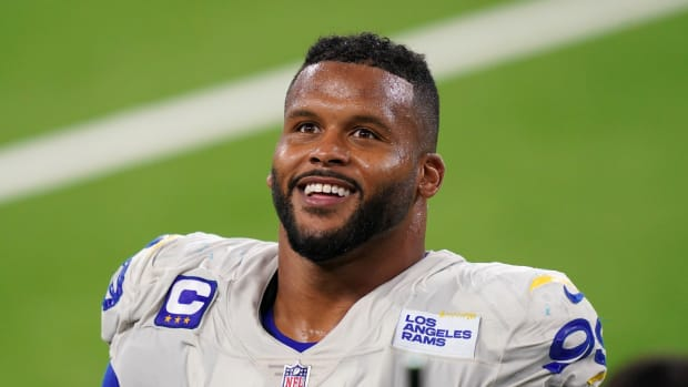 Sep 13, 2020; Inglewood, California, USA; Los Angeles Rams defensive lineman Aaron Donald (99) reacts after the game against the Dallas Cowboys at SoFi Stadium. The Rams defeated the Cowboys 20-17.