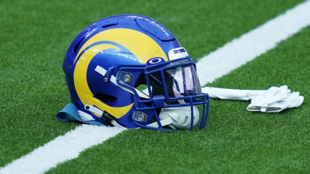 Aug 22, 2020; Inglewood California, USA; A Los Angeles Rams helmet with Oakley visor introduced for the 2020 season during a scrimmage at SoFi Stadium.