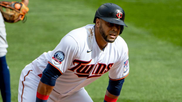 Minnesota Twins designated hitter Nelson Cruz (23) looks on after hitting an RBI double in the third inning against the Houston Astros at Target Field.
