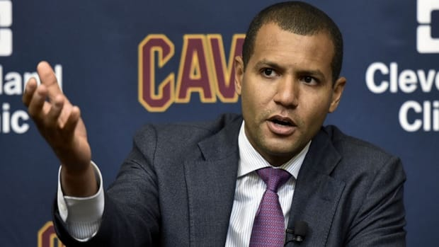 Cleveland Cavaliers GM Koby Altman addresses reporters at a recent press conference.