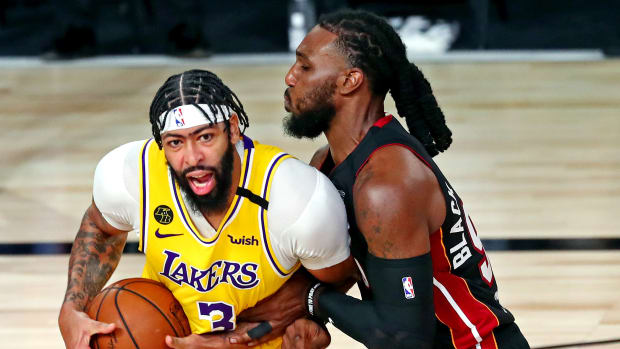 Los Angeles Lakers forward Anthony Davis (3) drives to the basket against Miami Heat forward Jae Crowder (99) during the third quarter in game one of the 2020 NBA Finals at AdventHealth Arena.
