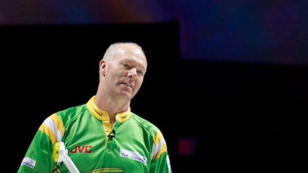 Glenn Howard reacts to one of his shots during the TSN Skins game at Casino Rama.