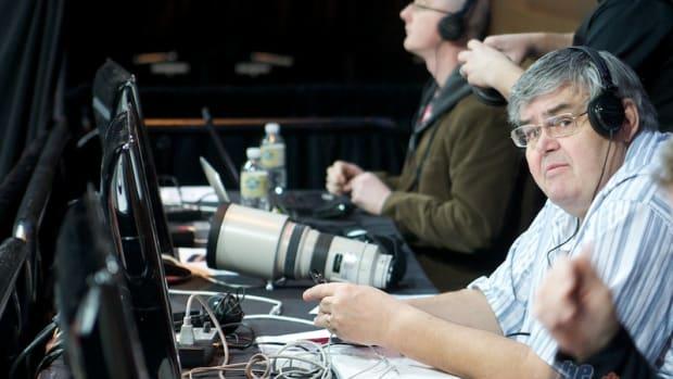 Terry Jones, on the media bench. NOT the workroom!