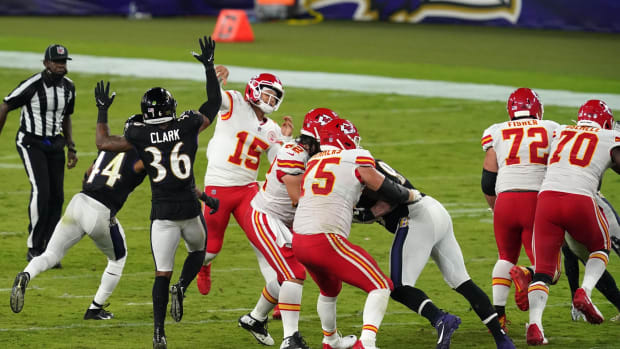 Sep 28, 2020; Baltimore, Maryland, USA; Kansas City Chiefs quarterback Patrick Mahomes (15) throws a late second quarter touchdown pass to wide receiver Mecole Hardman (not shown) against the Baltimore Ravens at M&T Bank Stadium. Mandatory Credit: Mitch Stringer-USA TODAY Sports