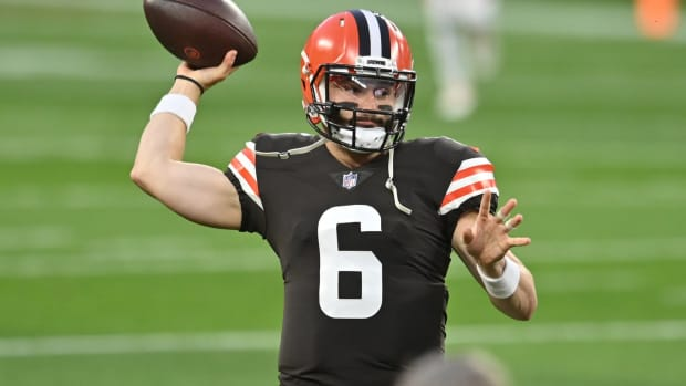 Sep 17, 2020; Cleveland, Ohio, USA; Cleveland Browns quarterback Baker Mayfield (6) warms up before the game between the Cleveland Browns and the Cincinnati Bengals at FirstEnergy Stadium. Mandatory Credit: Ken Blaze-USA TODAY Sports