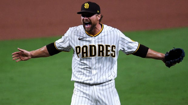 Oct 2, 2020; San Diego, California, USA; San Diego Padres relief pitcher Trevor Rosenthal (47) reacts after the Padres defeated the St. Louis Cardinals at Petco Park.