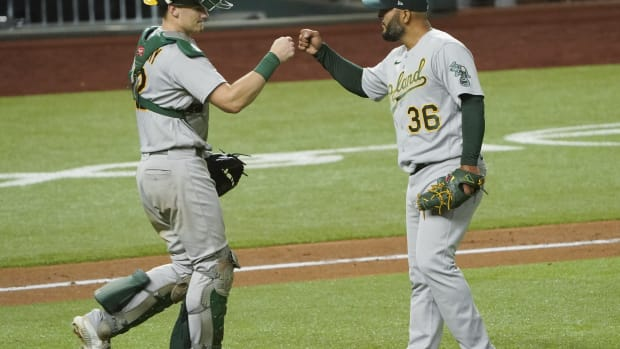 Catcher Sean Murphy likes what reliever Yusmeiro Petit brings to the table.