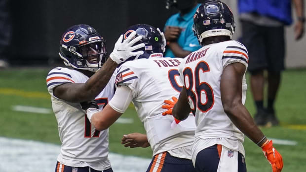 The Chicago Bears celebrate a touchdown pass in Sunday's 30-26 comeback win at Atlanta.