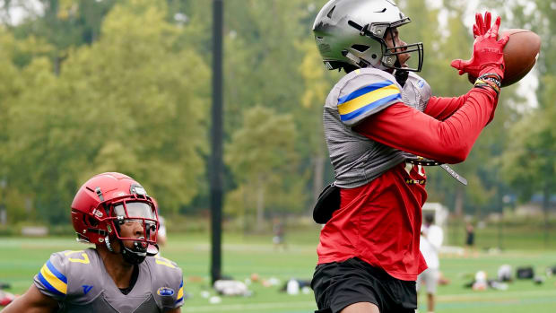 Tobias Merriweather of Camas High was a first-day standout at the FSP recruiting event.