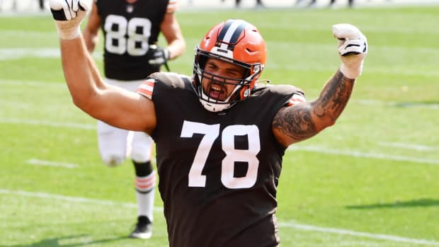 Sep 27, 2020; Cleveland, Ohio, USA; Cleveland Browns offensive tackle Jack Conklin (78) celebrates after running back Nick Chubb (not pictured) scored a touchdown during the second half against the Washington Football Team at FirstEnergy Stadium. Mandatory Credit: Ken Blaze-USA TODAY Sports