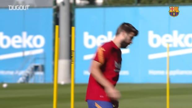 Umtiti back in Barcelona training