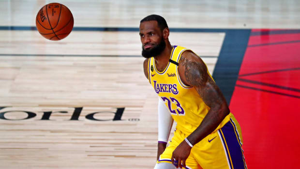 Lakers' LeBron James on the court during NBA Finals