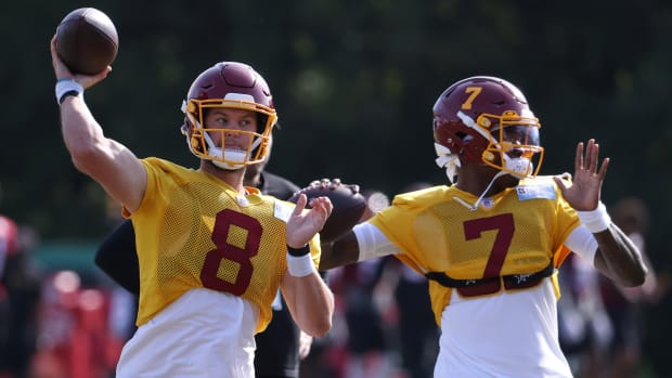 Kyle Allen and Dwayne Haskins Jr. participate in drills on Day 23 of training camp