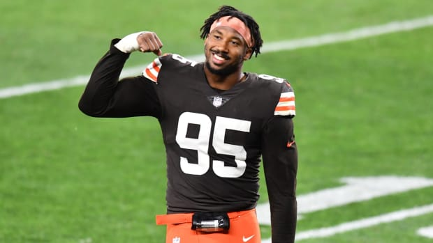 Sep 17, 2020; Cleveland, Ohio, USA; Cleveland Browns defensive end Myles Garrett (95) celebrates after the Browns beat the Cincinnati Bengals at FirstEnergy Stadium. Mandatory Credit: Ken Blaze-USA TODAY Sports