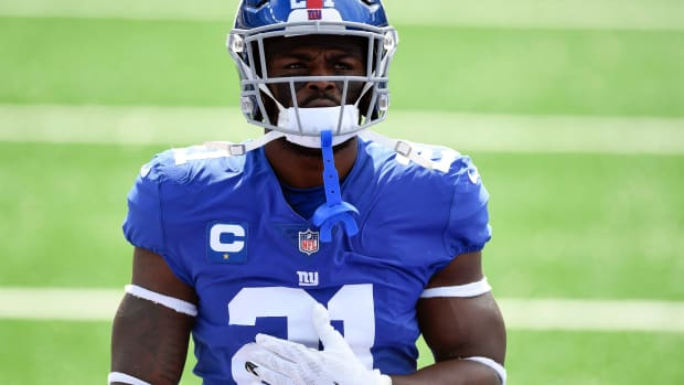 New York Giants safety Jabrill Peppers (21) on the field for warmups before facing the San Francisco 49ers in an NFL game at MetLife Stadium on Sunday, Sept. 27, 2020, in East Rutherford.