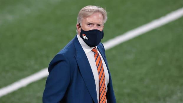Denver Broncos general manager John Elway before the game against the New York Jet at MetLife Stadium.