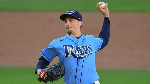 Tampa Bay Rays starting pitcher Blake Snell (4) pitching against the Houston Astros during the first inning in game one of the 2020 ALCS at Petco Park.