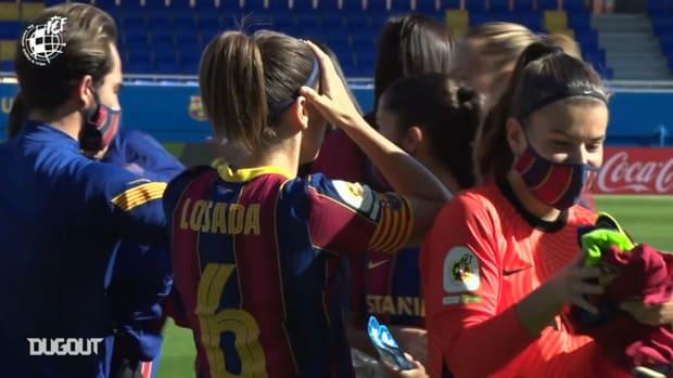 FC Barcelona Women receive the Spanish league trophy