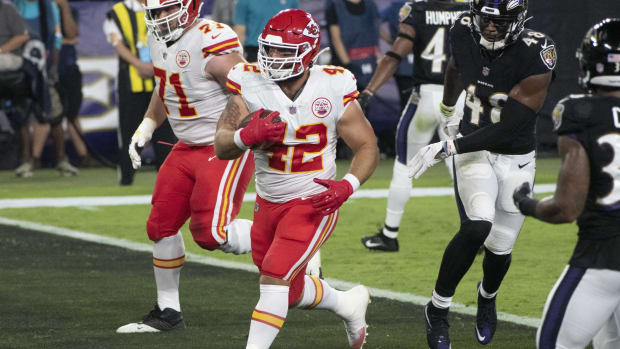 Sep 28, 2020; Baltimore, Maryland, USA; Kansas City Chiefs fullback Anthony Sherman (42) scores a touchdown during the second quarter against the Baltimore Ravens at M&T Bank Stadium. Mandatory Credit: Tommy Gilligan-USA TODAY Sports