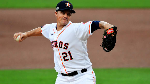 Oct 14, 2020; San Diego, California, USA; Houston Astros starting pitcher Zack Greinke (21) pitches in the first inning against the Tampa Bay Rays during game four of the 2020 ALCS at Petco Park.