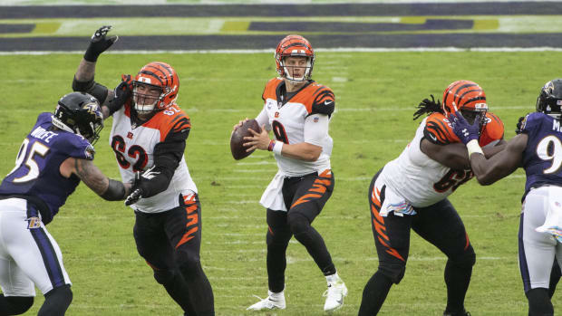 Oct 11, 2020; Baltimore, Maryland, USA; Cincinnati Bengals quarterback Joe Burrow (9) look to throw during the game against the Baltimore Ravensat M&T Bank Stadium. Mandatory Credit: Tommy Gilligan-USA TODAY Sports