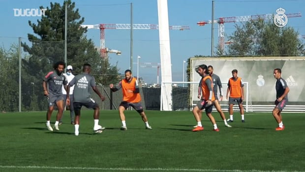 Focus on Karim Benzma during Real Madrid training