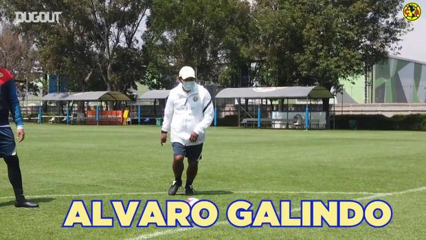 Club América's coaching staff take on crossbar challenge