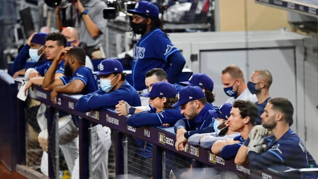 The Tampa Bay Rays bench reacts during the ninth inning against the Houston Astros during game six of the 2020 ALCS at Petco Park. The Houston Astros won 7-4.