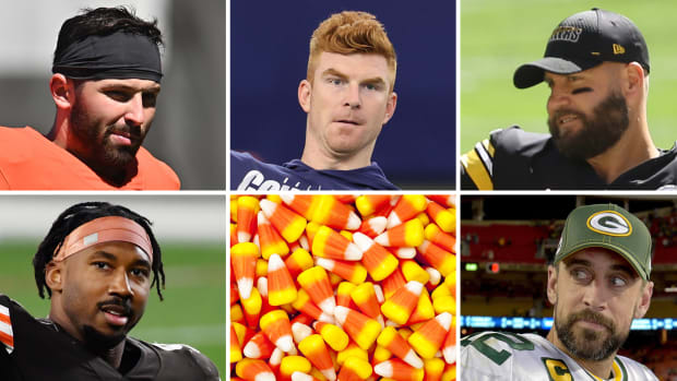 NFL Week 6 Preview, clockwise from top-left: Baker Mayfield, Andy Dalton, Ben Roethlisberger, Aaron Rodgers, candy corn, Myles Garrett