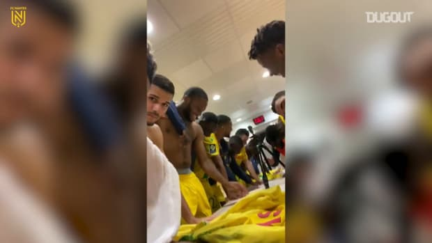 FC Nantes' celebrations after winning Brest