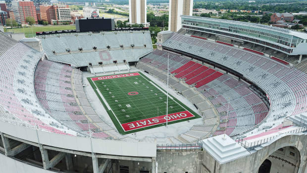 An empty Ohio Stadium on the Buckeyes' campus