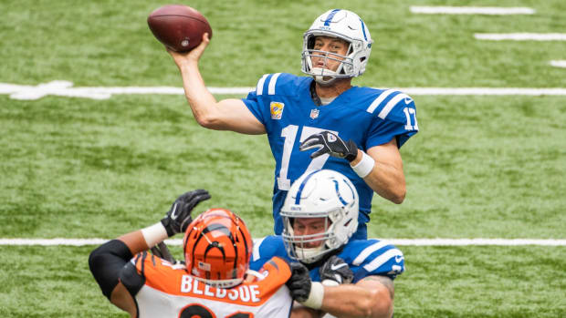 Indianapolis Colts quarterback Philip Rivers threw three touchdown passes to lead his team to a 31-27 comeback victory over the visiting Cincinnati Bengals on Sunday at Lucas Oil Stadium.
