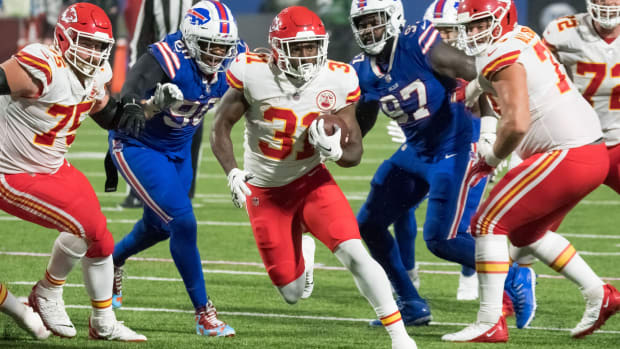Oct 19, 2020; Orchard Park, New York, USA; Kansas City Chiefs running back Darrel Williams (31) scores a touchdown against the Buffalo Bills in the third quarter at Bills Stadium. Mandatory Credit: Mark Konezny-USA TODAY Sports