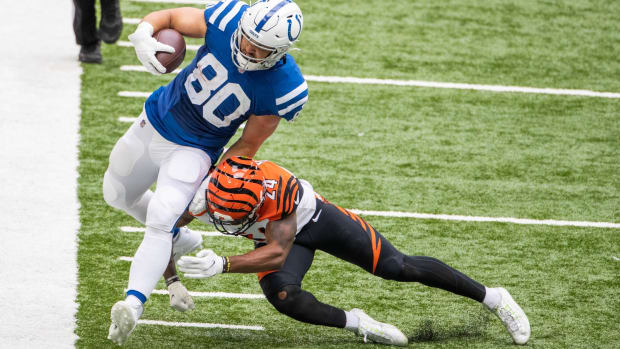 Indianapolis Colts tight end Trey Burton makes a reception in Sunday's 31-27 home win over the Cincinnati Bengals.