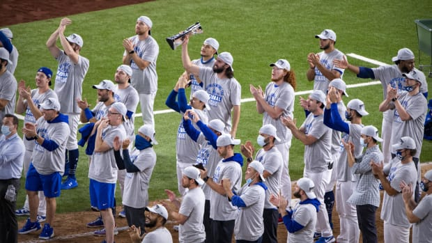 Oct 18, 2020; Arlington, Texas, USA; The Los Angeles Dodgers celebrate defeating the Atlanta Braves in game seven of the 2020 NLCS at Globe Life Field. Mandatory Credit: Jerome Miron-USA TODAY Sports